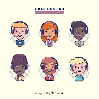 Amostra de avatares de call center