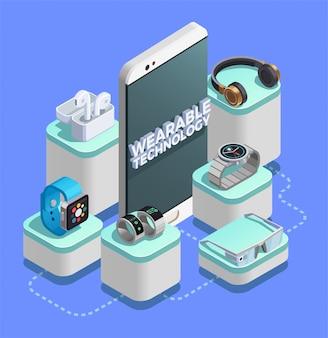 Amostra de composição isométrica da tecnologia wearable