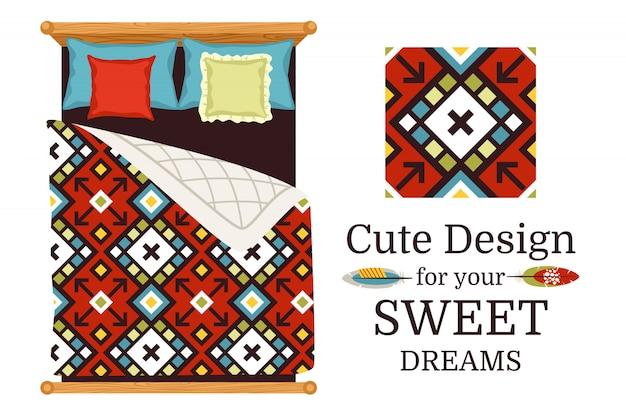 Amostra de padrão ornamental de sonhos doces e lençóis como um exemplo, ilustração vetorial