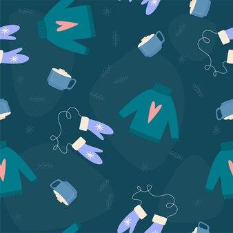 Amostra de tecido de natal e ano novo ou papel de embrulho sem costura de fundo