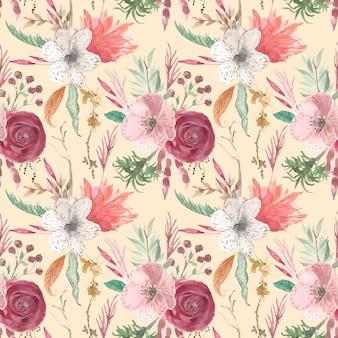 Amostras de aquarela de arranjo bonito flor vintage padrão