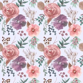 Amostras de arranjo de flores rosa e roxo aquarela padrão