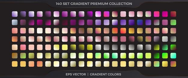 Amostras de combinações de paletas de gradientes pastel suaves de coleção mega set