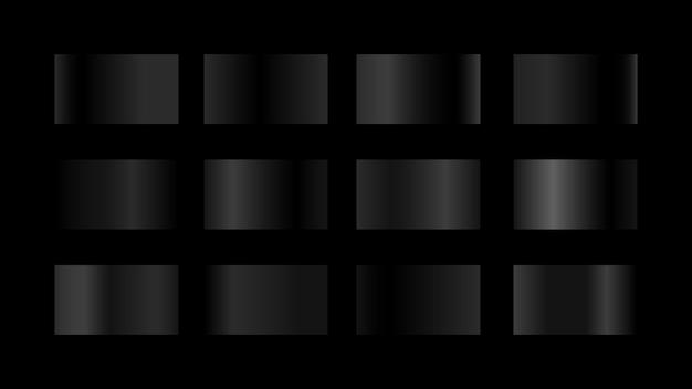 Amostras de cores gradientes metálicas pretas definidas isoladas em um fundo preto para o elemento de design gráfico