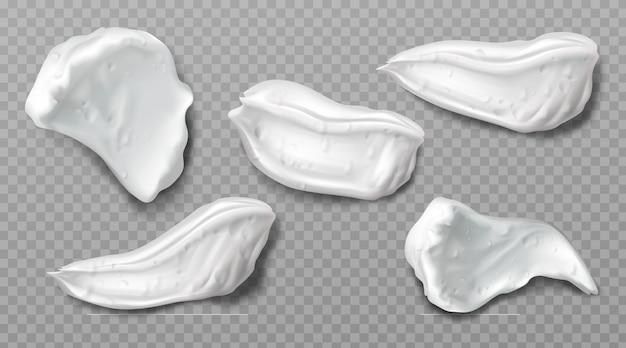 Amostras de creme de espuma cosmética branca
