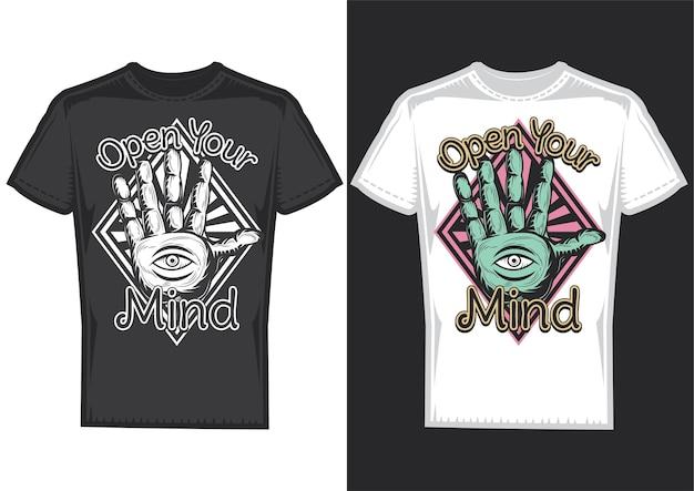Amostras de design de camiseta com ilustração de adivinhação no design do braço.