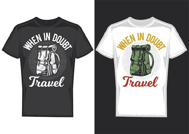 Amostras de design de camiseta com ilustração de uma mochila de acampamento.