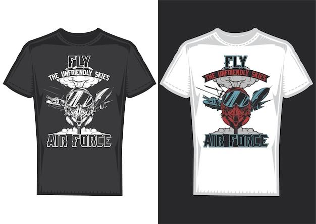 Amostras de design de camisetas com ilustração das forças aéreas