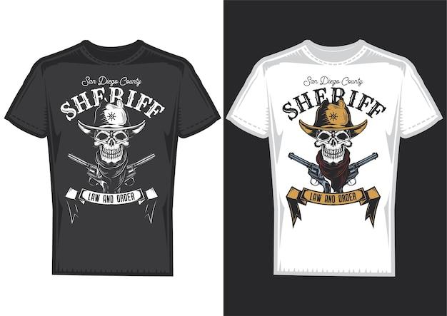 Amostras de design de camisetas com ilustração de um crânio de cowboy.