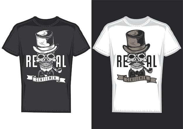 Amostras de design de camisetas com ilustração de uma caveira de cavalheiro com um chapéu.