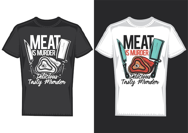 Amostras de design de t-shirt com ilustração de carne e facas.