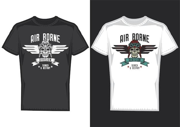 Amostras de design de t-shirt com ilustração de caveira com desenho de asas.