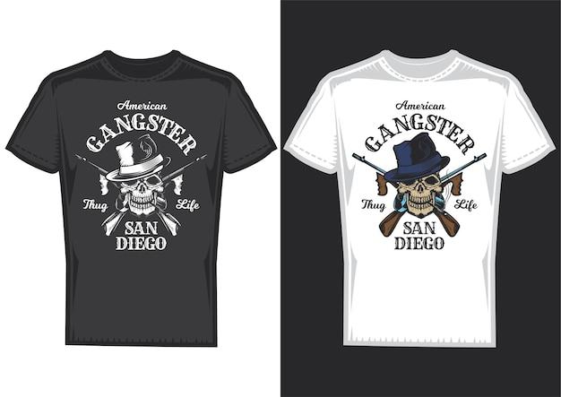 Amostras de design de t-shirt com ilustração de uma caveira com armas.
