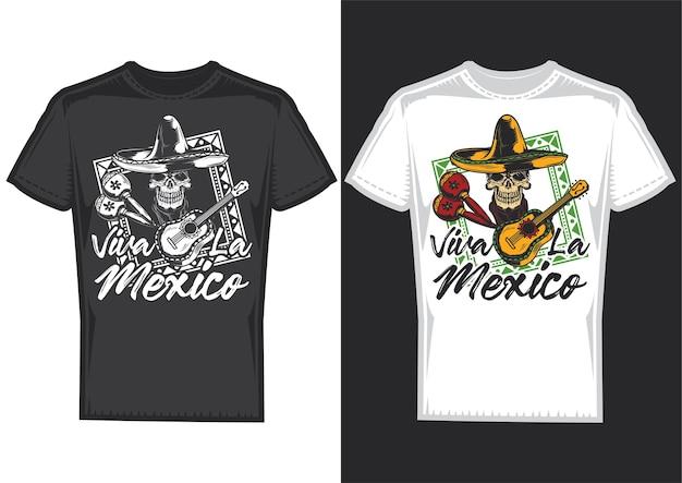 Amostras de design de t-shirt com ilustração de uma caveira com chapéu mexicano e uma guitarra.
