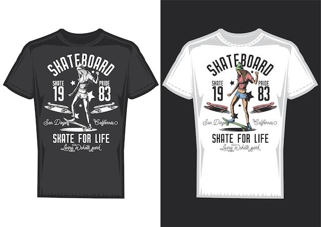 Amostras de design de t-shirt com ilustração de uma menina em um skate.