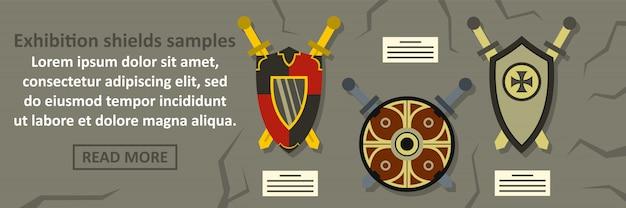 Amostras de escudos de exposição banner modelo conceito horizontal