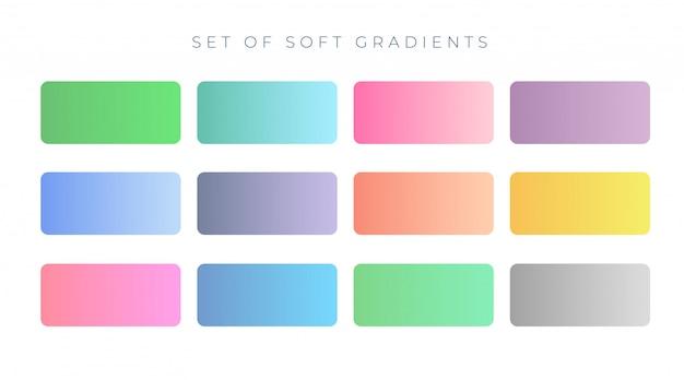 Amostras de gradiente de cor suave e elegante
