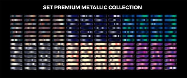 Amostras de luxo metálicas prata, cobre, bronze, azul, roxo gradiente mega conjunto coleção paleta