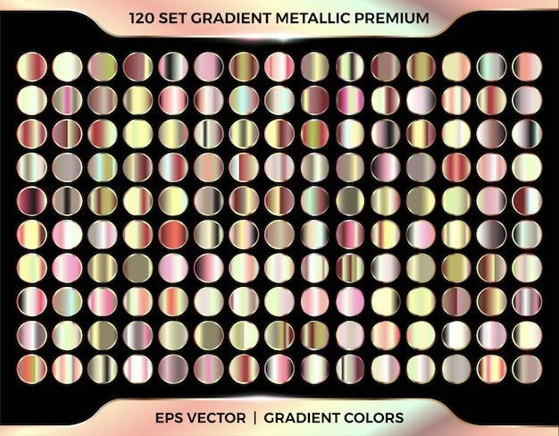 Amostras gradientes de ouro, ouro rosa, cobre e bronze paleta de coleção de megaconjuntos para modelos de etiqueta de capa de fita de moldura de borda