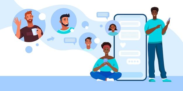 Amplie a ilustração da videoconferência com o rosto de diversas pessoas. videochamada em grupo