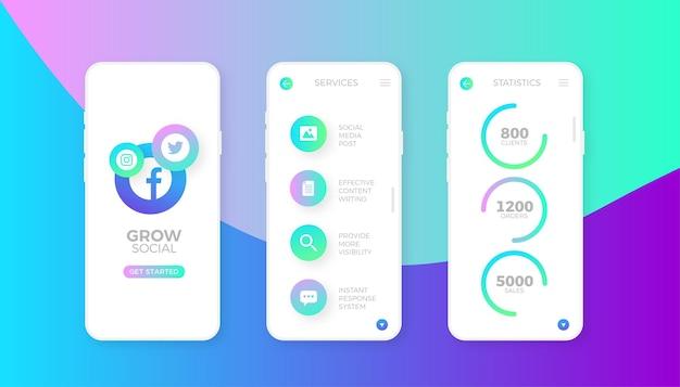 Amplie o design do aplicativo de marketing de mídia social