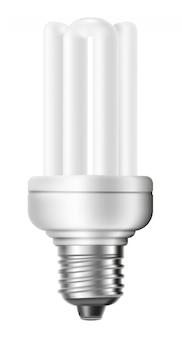 Ampola de poupança de energia fluorescente isolada no fundo branco.