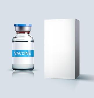 Ampola de vidro realista com vacina e caixa branca isolada em um fundo cinza