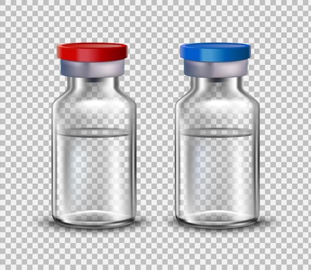 Ampolas de vacina, simulação para design de brochuras médicas.