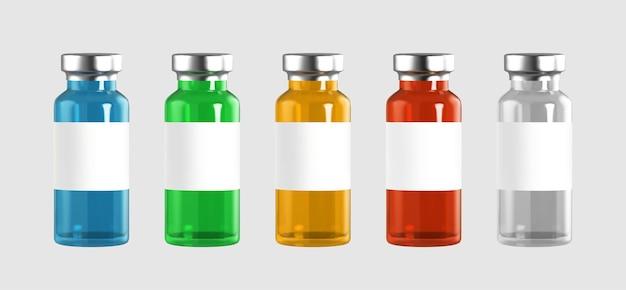 Ampolas de vidro realistas com injeção de vacina de medicamento. contágio do coronavírus