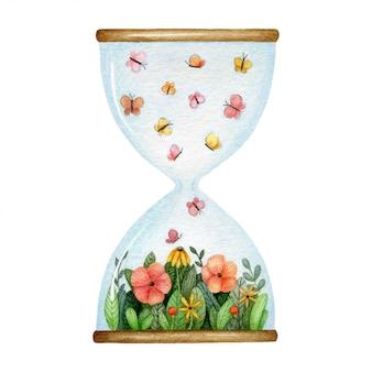 Ampulheta com clareira de flores e borboletas dentro. ilustração em aquarela.