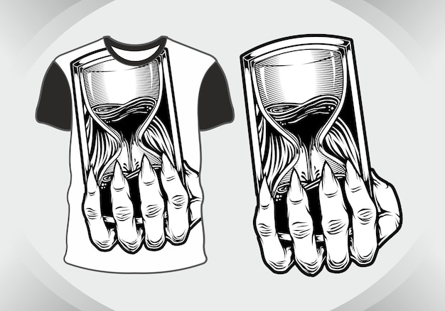 Ampulheta de crânio de design de camiseta