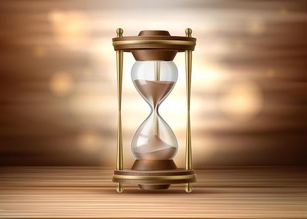 Ampulheta realista. ampulheta em fundo marrom. relógio vintage parado na superfície de madeira.