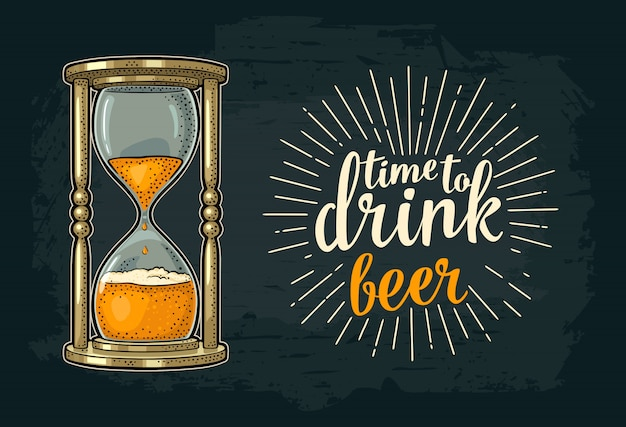 Ampulheta retrô com cerveja. gravura vintage de vetor