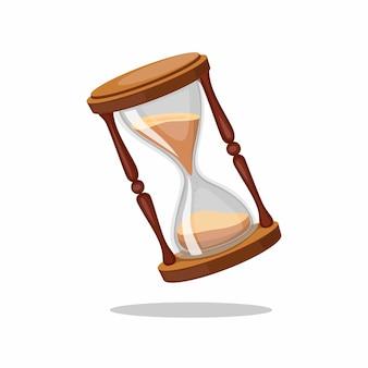 Ampulheta, símbolo de temporizador de areia de vidro vintage. conceito na ilustração realista dos desenhos animados, isolado no fundo branco
