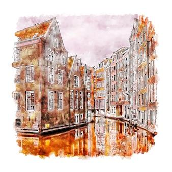 Amsterdam centrum noord holland ilustração desenhada à mão em aquarela.