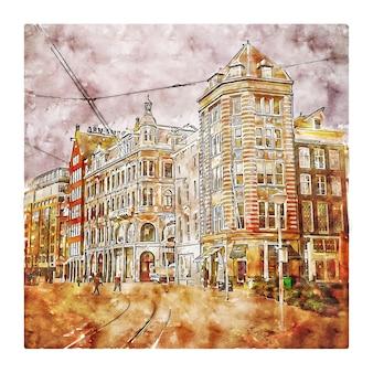 Amsterdam holanda esboço em aquarela.