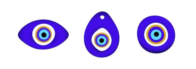Amuleto de símbolo de olho mau oriental azul estilo plano design conjunto de ilustração vetorial
