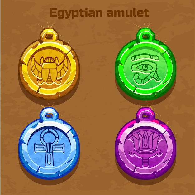 Amuleto egípcio velho colorido