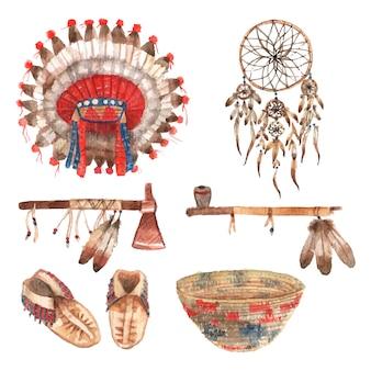 Amuletos tribais indiais do nativo americano e coleção dos artigos domésticos com headdress das penas
