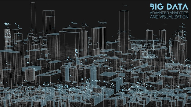 Análise da estrutura financeira urbana abstrata 3d de grande volume de dados