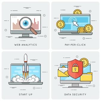 Análise da web. pago por clique. comece. data securi.