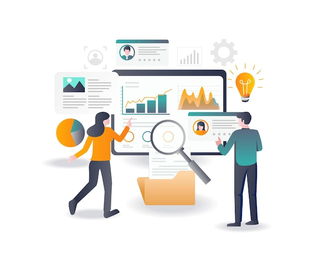 Analise dados de e-mail e otimização de seo em design plano