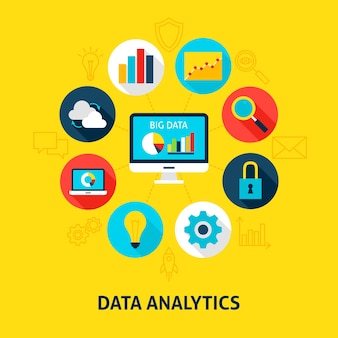 Análise de banco de dados de conceito. ilustração em vetor de círculo de infográficos de big data com ícones planas.