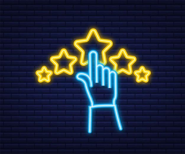 Análise de clientes, avaliação de usabilidade, feedback, conceito isométrico de sistema de classificação. estilo neon. ilustração vetorial.