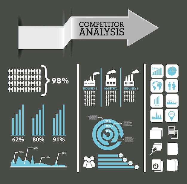 Análise de concorrentes infográficos cores azul e cinza de fundo vector