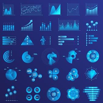 Análise de dados, análise de estatísticas de infográficos, gráficos, conjunto de diagramas