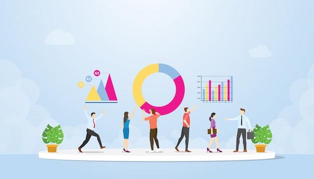 Análise de dados com equipe e pessoas avaliam analisar informações em conjunto com o moderno estilo simples - vetor
