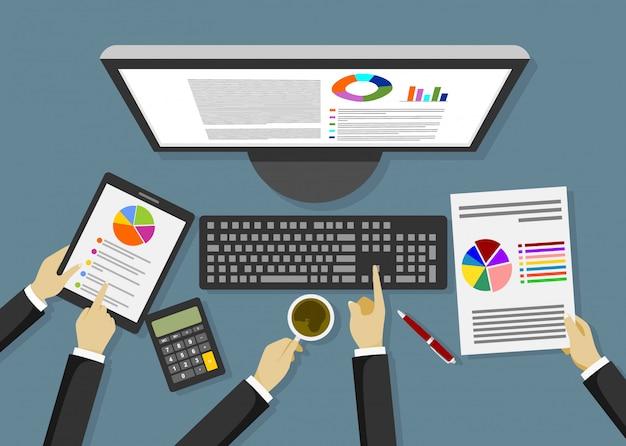 Análise de dados comerciais, ilustração.