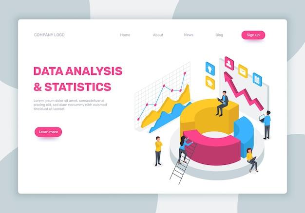 Análise de dados conceito de estatísticas isométricas de página de destino com diagrama de laptop, trabalho em equipe