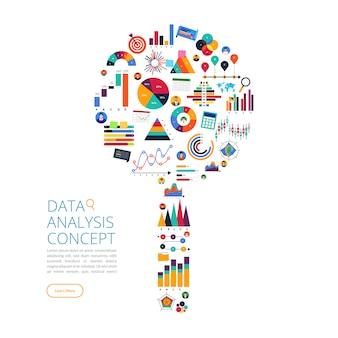Análise de dados de conceito. visualize com gráfico e gráfico o crescimento do marketing. ilustração.